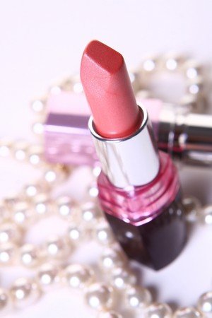 perl: a red lipstick with perl Stock Photo