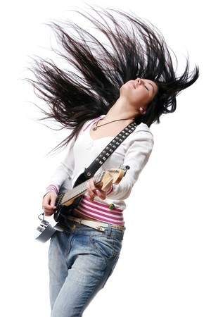 girl playing guitar: beautiful young and attractive woman Stock Photo
