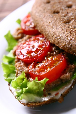 fresh sandwich with salami and tomatoes photo