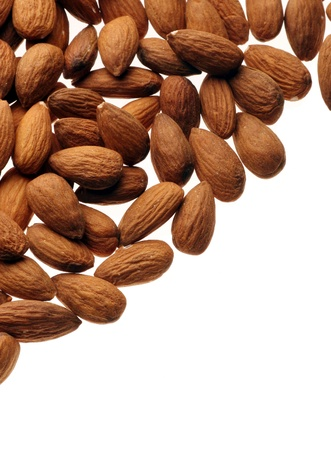 nut shell: brown background with fresh nuts Stock Photo