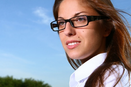 studing: a beautiful young woman studing Stock Photo