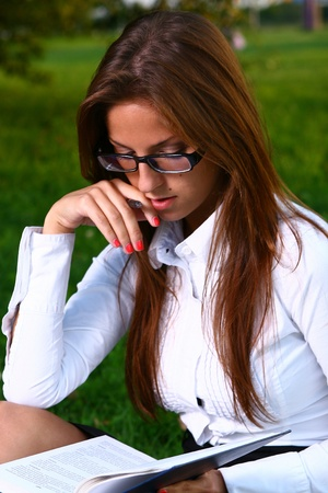 a beautiful young woman studing Stock Photo - 8361962