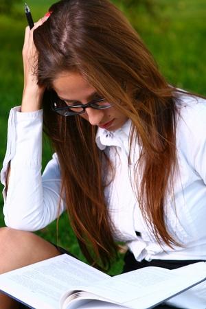 a beautiful young woman studing Stock Photo - 8361966
