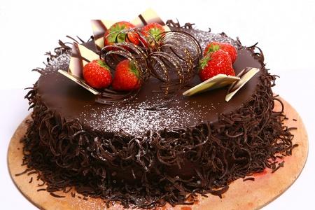 chocolate mousse: chocolate fruitcake Stock Photo