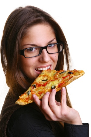 beautiful young woman eating pizza Stock Photo - 8330878