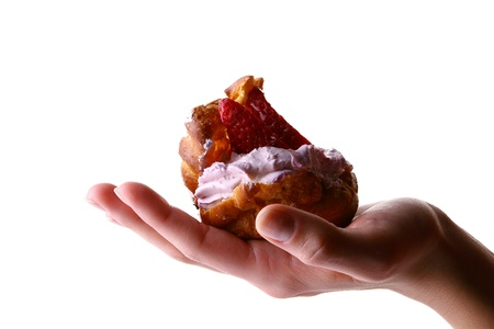 womans hand with fruitcake Stock Photo - 8312464