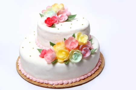 Wedding cake with color flore Stock Photo - 8319294