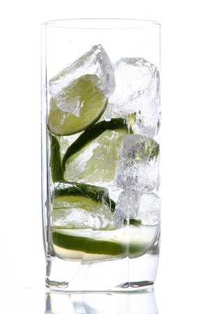 glas of water with ice and lime photo