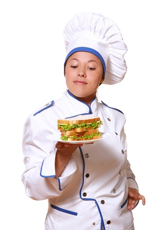 adult sandwich: funy chef woman on white