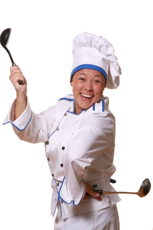 busy restaurant: beautiful woman in chef images