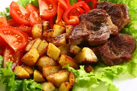fresh garnir food with salad  photo