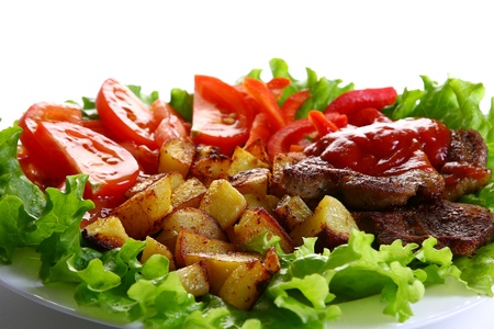 Meat plate with potatoe and souce Stock Photo - 8320172