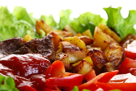 Meat plate with potatoe and souce Stock Photo - 8320002