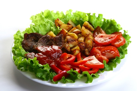 Meat plate with potatoe and souce Stock Photo - 8319818