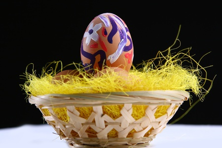 Easter eggs in basket Stock Photo - 9557894