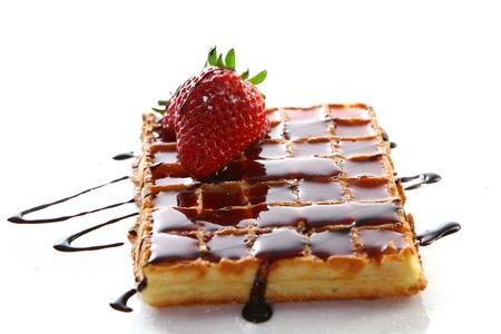 waffles: Waffles con fresa