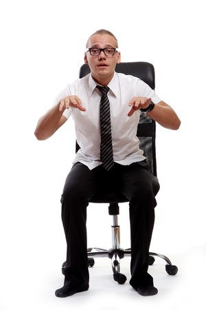 young man and read news in office photo