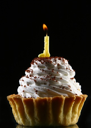 birthday cupcake with candle and chocolate Stock Photo - 8319355