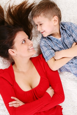young mother with five years kid photo