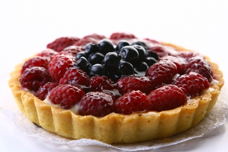 pastry chef: Fresh fruitcake with berries  Stock Photo