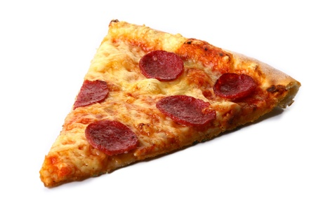 portions: a part of salami pizza with cheese Stock Photo
