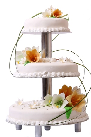 Wedding cake with color flore photo