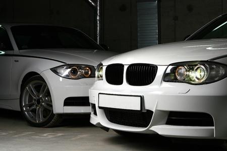 new white car on black Stock Photo - 8321317