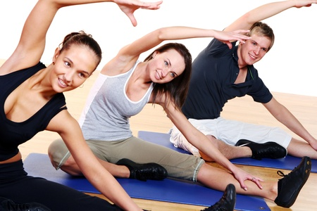 adult class: people group  doing fitness exercise