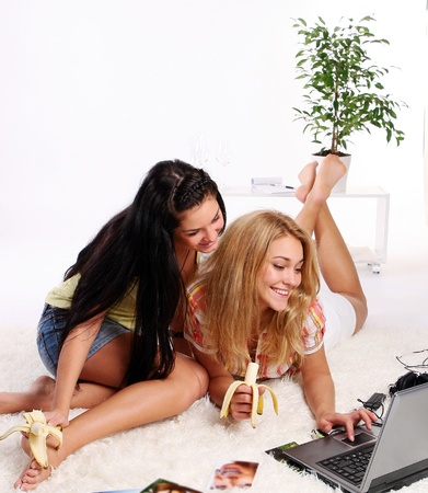 tenager: two young and beautiful girls Stock Photo