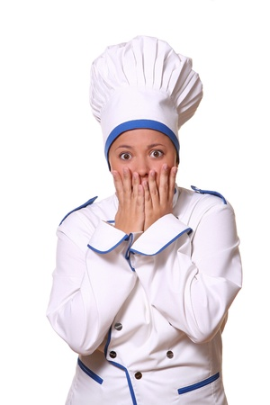 beautiful woman in chef images photo