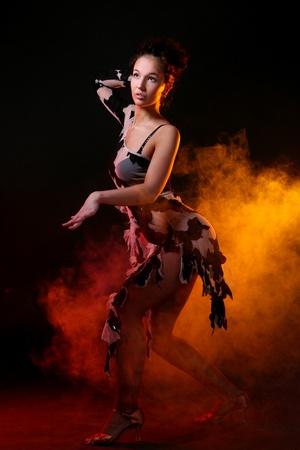 beautiful woman dancin salsa dance photo