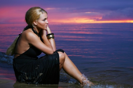 sexy and luxury woman on sunset backgroung Stock Photo - 8673835