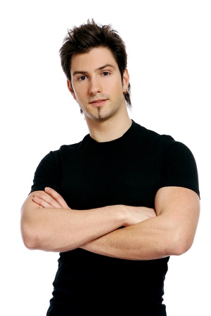 young and attractive male on white Stock Photo - 8750851