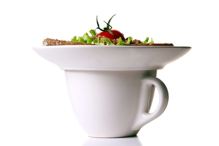 fresh tea cup with sandwich photo