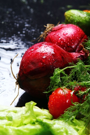 Fresh and wet vegetables Stock Photo - 8599612