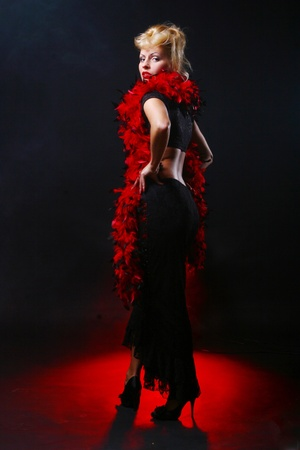 Very Beautiful and luxury woman on black background photo