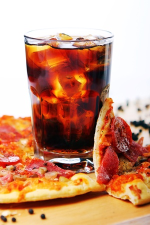 cola: Fresh pizza with salami and mushrooms and cold cola drink  Stock Photo