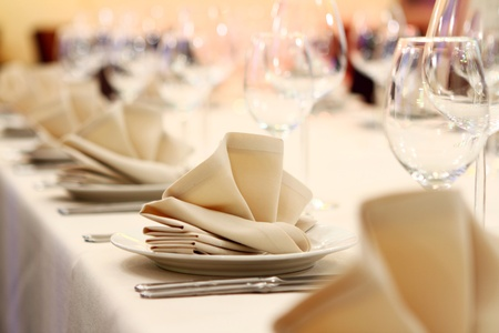 setting table: Photo of professional restaurant serving  Stock Photo