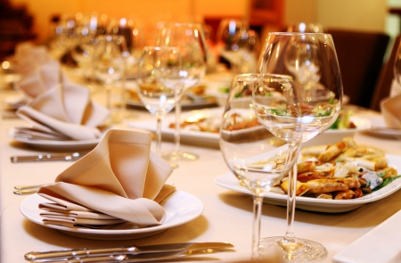 banquets: Banquet table with restaurant serving and snacks Stock Photo
