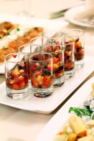Banquet table with restaurant serving and snacks Stock Photo - 9070811