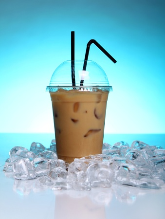 Cold coffee drink with ice photo