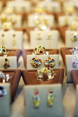 Jewerly rings on showcase photo
