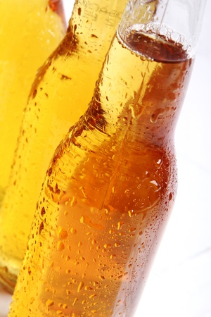 Bottles of cold and fresh beer. Close up view. Stock Photo - 9636305