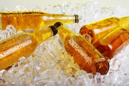 Bottles of cold beer lying in the ice. Close view. Stock Photo - 9676466