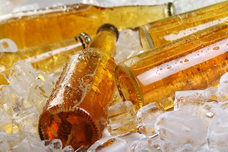 Bottles of beer lying in the ice. Close view. photo