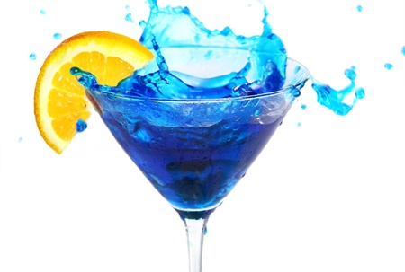 Blue cocktail with orange isolated on white photo