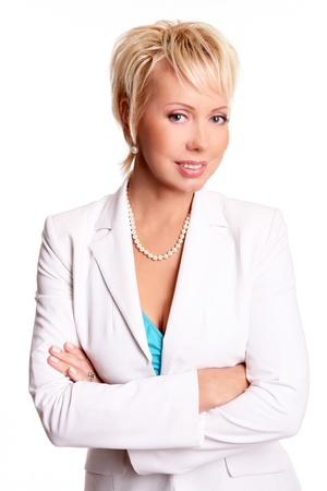 Beautiful adult businesswoman isolated on white photo