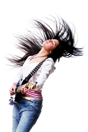 girl playing guitar: Beautiful woman with electro guitar isolated over white background
