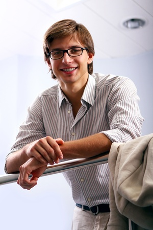 man with glasses: Young and attractive businessman