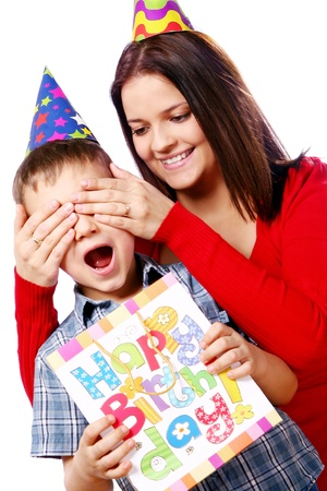 Mother and son celebrating his  birthday  photo